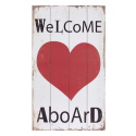 "Placa madera ""welcome aboard"" con corazon"
