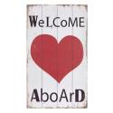 """Plaque de bois """"Bienvenue à bord"""" avec le coeur"""