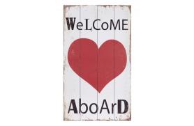"Placa madera ""welcome aboard"" con corazon"