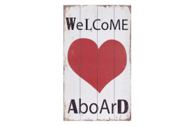 "Wooden plate ""welcome aboard"" with heart"