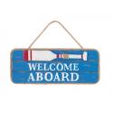 "Placa fusta ""welcome aboard"""