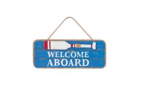 """Placa de madeira """"bem-vindos a bordo"""""""