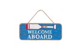 "Placa madera ""welcome aboard"""