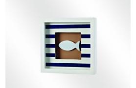 "Tableau marine ""poissons"" bleu"