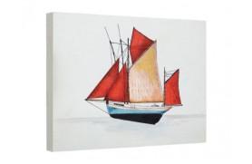 Óleo de pintura de veleiro marinha