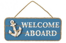 "Placa de madeira ""Welcome Aboard"""