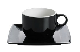 Set 2 coffee cups Quadrato Black & White