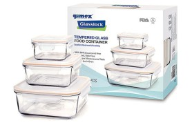 Set 6 glass tupperware