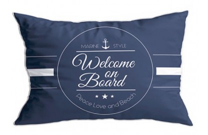"2 blue cushions ""Welcome"""