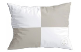 "2 beige ""Flags 2"" cushions"