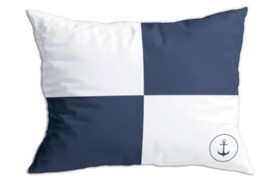 "2 blue ""Flags 2"" cushions"