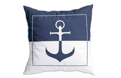 2 blue anchor cushions