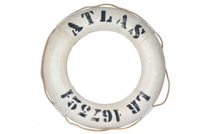 Decorative white lifebuoy