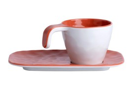 Set 6 Coffee cups Coral