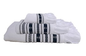 Anchor Towel Set - White